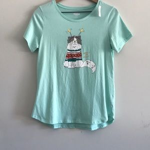 Old Navy Christmas Graphic Cat Tee Size Small